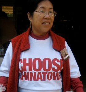 "Image of  Judy Lee wearting a ""Choose Chinatown"" t-shirt, 2009."