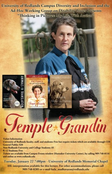 Image of Temple Grandin speaking event poster
