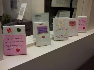 Image of some of the wrapped and decorated books for BDWB13