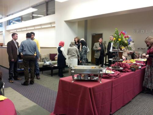 image of Muslim Journeys Bookshelf Opening Reception mingling