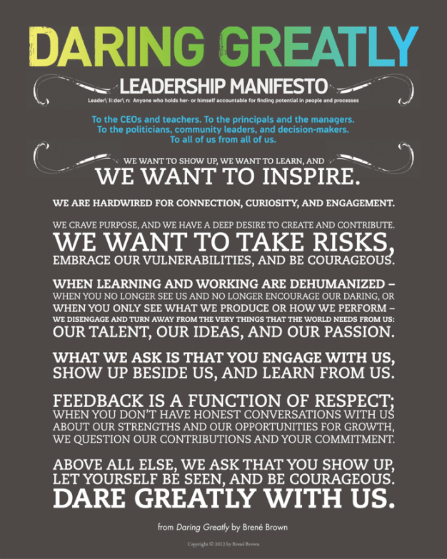 image of Daring Greatly Leadership Manifesto
