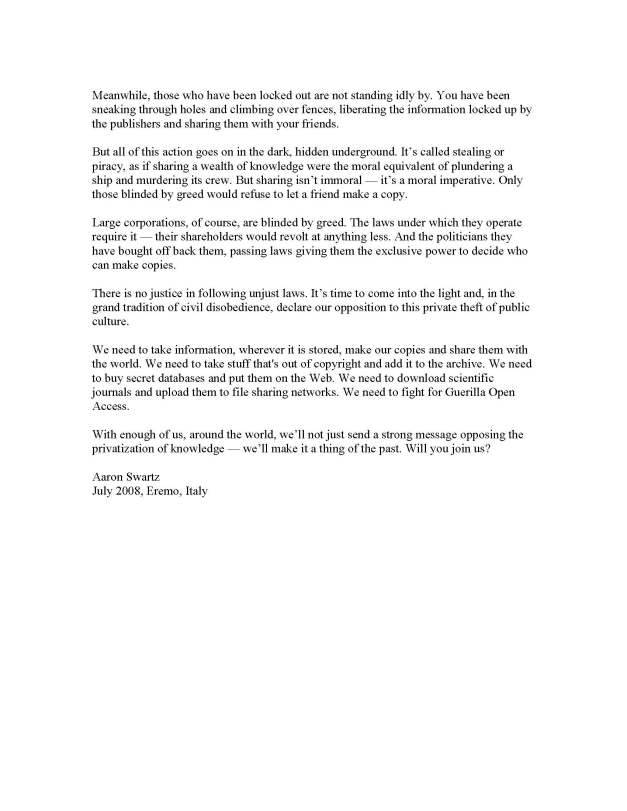 image of Guerilla Open Access Manifesto, page 2