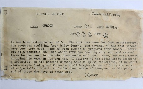 image of John Gurdon's abysmal high school report card