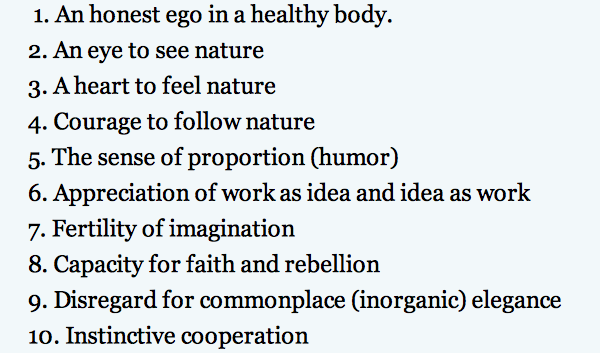 image of Frank Lloyd Wright's 10-point manifesto for his apprentices