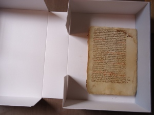 The manuscript inside the archival bookbox I funded.