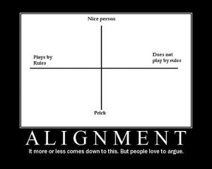 "image of a Demotivational Poster featuring Alignment. Text reads ""Alignment. It more or less comes down to this. But people love to argue."""