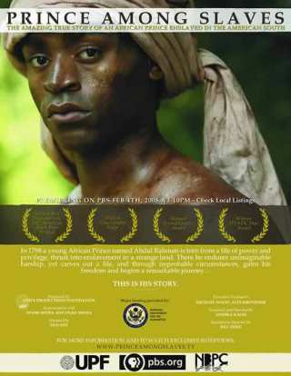 image of the PBS publicity sheet for the film Prince Among Slaves.