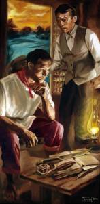 "image of Juanito Torres' 2012 painting ""Reform or Revolution,"" which shows two men, one sitting and one standing, deliberating seriously by candlelight."