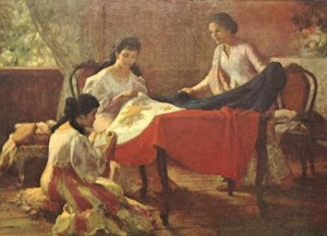 "image of the painting ""the making of the Philippine flag"""
