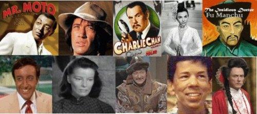 collage of stereotypical images of white actors playing Asian characters