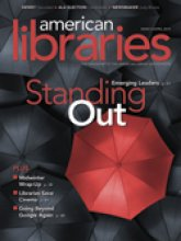"Image of magazine cover of the American Libraries magazine for March/April 2014. It features a red umbrella amidst black umbrellas. It has the title ""Standing Out"" prominently superimposed onto the image."