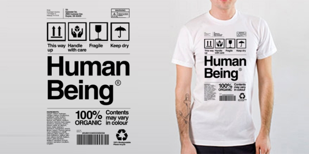 "Image of emptees ""human being"" t-shirt."