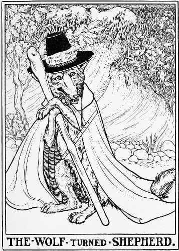"black and white illustration of a wolf on it's hind legs, wearing a hat, cape, and pants. The caption reads ""The Wolf Turned Shepherd."""