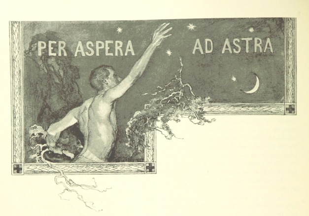 image of a man extending his right arm. An inscription is written across the top: Per Aspera Ad Astra.