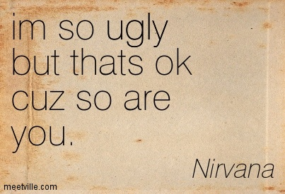 "Quotation from the song Lithium by Nirvana, 1991. ""I'm so ugly, but that's ok cuz so are you."""