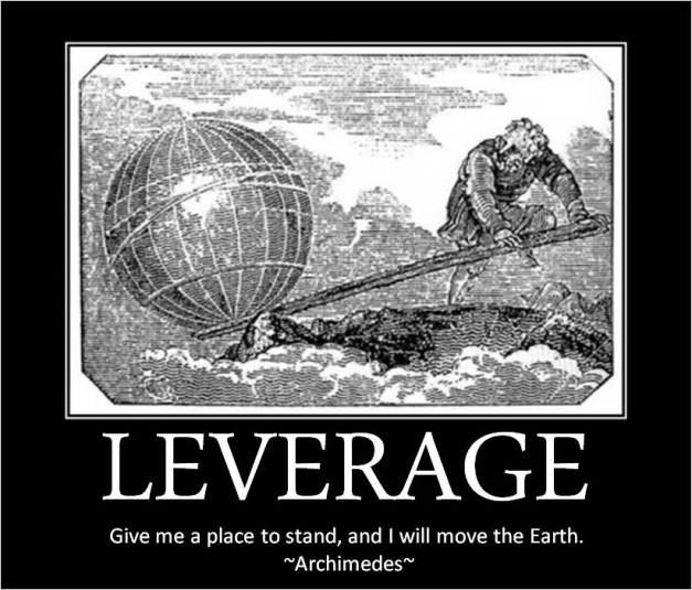 """Image in the style of motivational posters, with an image of a man moving a globe with a lever and the caption, commonly attributed to Archimedes: """"Give me a place to stand and I will move the Earth."""""""