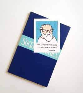 "Image of a magnet of Socrates from the e-commerce website, Etsy. It is an image of a cartoon portrait of Socrates with the quote ""The unexamined life is not worth living."""