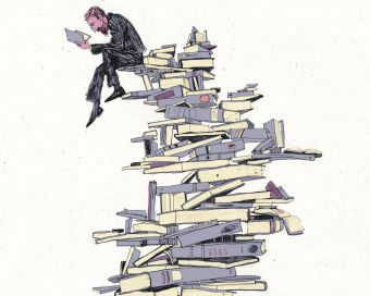 Image of drawing of a man reading a book on top of a precariously stacked pile of books.
