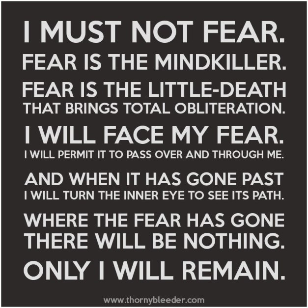 "Image stating the Bene Gesserit litany from the science fiction book, Dune by Frank Herbert. It states: ""I must not fear. Fear is the mindkiller. Fear is the little death that brings total obliteration. I will face my fear. I will permit it to pass over me and through me. And when it has gone past, I will turn the inner eye to see its path. Where the fear has gone there will be nothing. Only I will remain."""