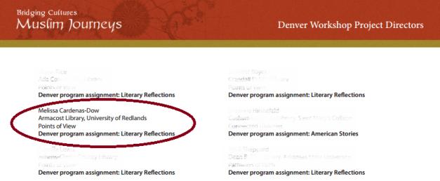 LTAI:MJ 2013 Denver Workshop list of project directors