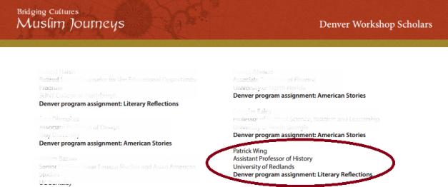 LTAI:MJ 2013 Denver Workshop list of project scholars